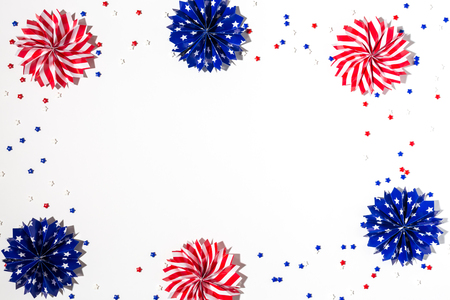 11th: USA holiday decorations on a white background flat lay Stock Photo