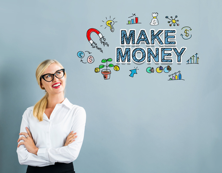 Make Money text with business woman on a gray background