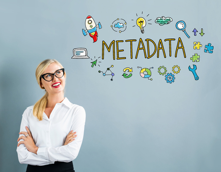 metadata: Metadata text with business woman on a gray background Stock Photo