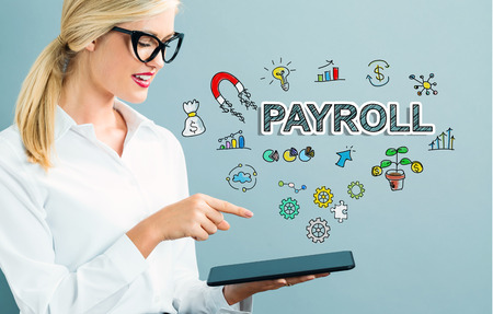 Payroll text with business woman using a tablet