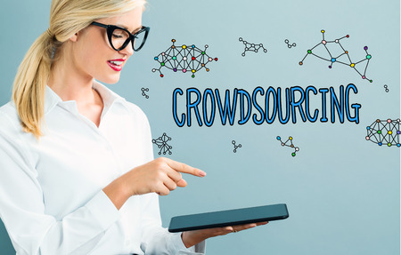 Crowdsourcing text with business woman using a tablet
