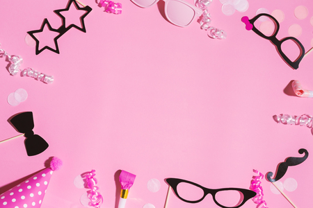 Party objects theme on a pink background