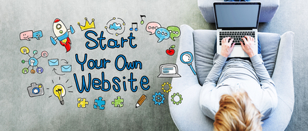 own: Start Your Own Website text with man using a laptop in a modern gray chair