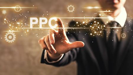 PPC tekst met zakenman op donkere vintage achtergrond Stockfoto