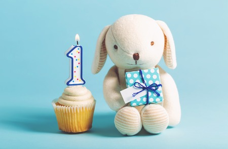 Childs first birthday celebration theme with cupcakes and stuffed animal