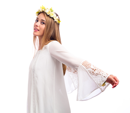 Beautiful young woman with a flower garland and a white dress isolated on a white background Stock fotó - 82316203