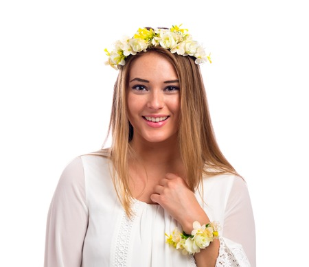 Beautiful young woman with a flower garland and a white dress isolated on a white background Stock fotó - 82427651