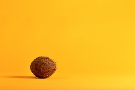 Whole fresh coconut on a bright yellow background