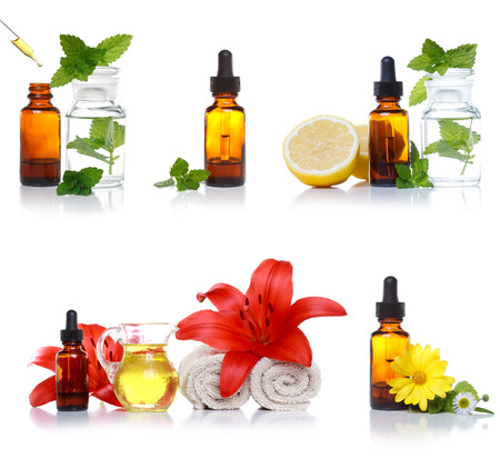 Herbal dropper bottle collection on a white background