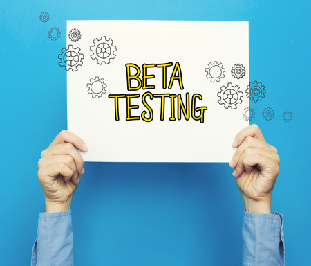 Beta Testing  on a white poster on a blue background