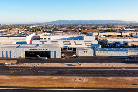 HAWTHRONE, CA, - August, 16th 2016: The Tesla Inc Design Center, which borders the Hawthorne Airport, is viewed from the air near Los Angeles, California.