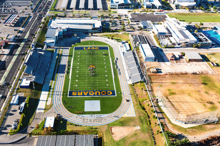 LOS ANGELES, CA - August, 16th 2016: The Los Angeles Southwest College football stadium is seen from the air in Los Angeles, California