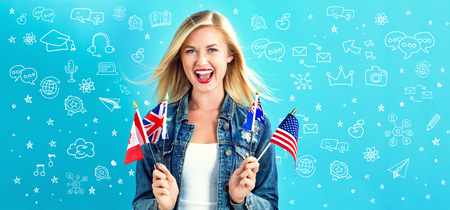 Leaning English theme cartoon with young woman with flags of English speaking countries