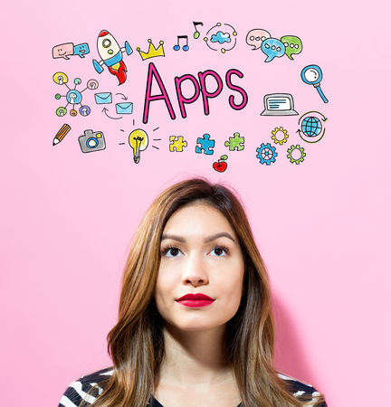 APPS text with young woman on a pink background
