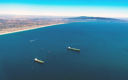 Aerial view of ships of the coast of Los Angeles, CA