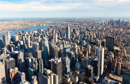 NEW YORK - JULY 02 2016: Aerial view of the Manhattan skyline, New York City