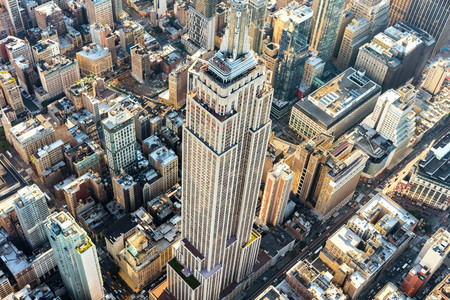 NEW YORK - JULY 02 2016: Aerial view of the Empire State building in Manhattan New York City