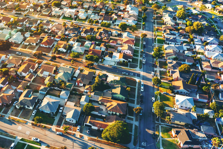 Aerial view of of a residential neighborhood in Hawthorne, in Los Angeles, CA Stock Photo