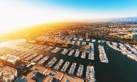 Aerial view of the Marina del Rey seaside community in Los Angeles