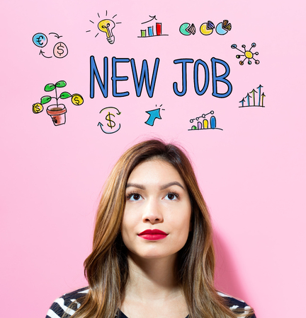 New Job text with young woman on a pink background