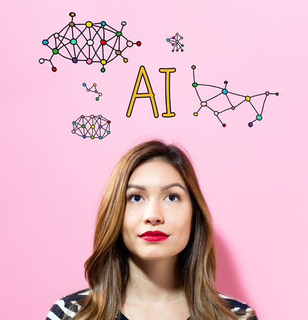 AI text with young woman on a pink background