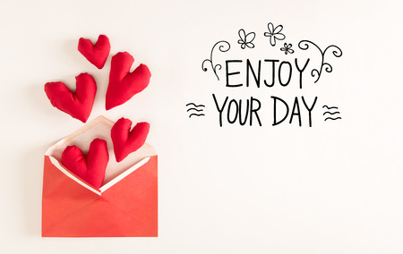 Delicieux Enjoy Your Day Message With Red Heart Cushions Coming Out Of An Envelope