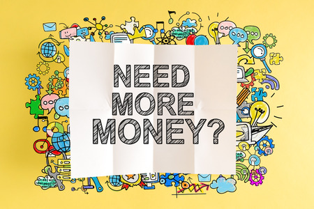 Need More Money text with colorful illustrations on a yellow background Stock Photo