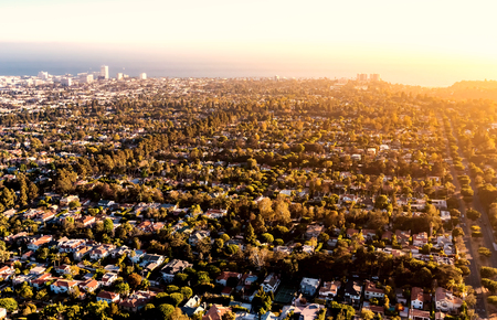 Aerial view of Los Angeles, CA near Century City Stock Photo