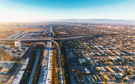 Aerial view of traffic on a highway in Los Angeles, CA Stock Photo