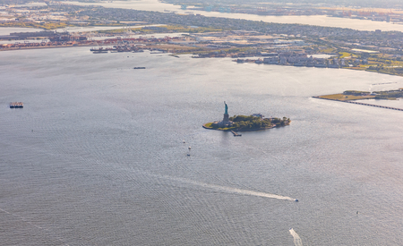 Aerial view of the of the Statue of Liberty in NYC