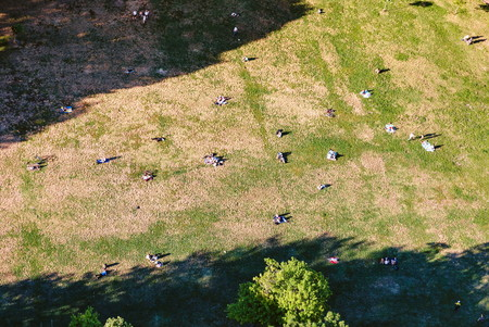 Aerial view of of people in Astoria Park in New York City