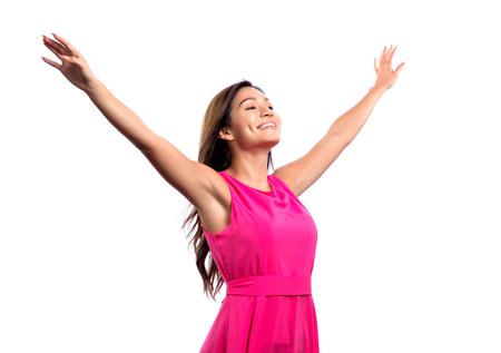 행복한 여자와 그녀의 팔 outstreched 격리 된 흰색 배경에