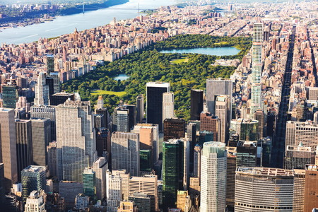 Aerial view of Midtown Manhattan, NY and Central Park Stock Photo
