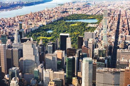 Luchtmening van Uit het stadscentrum Manhattan, NY en Central Park