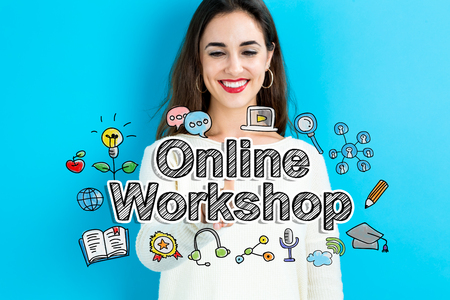 Online Workshop text with young woman on a blue background