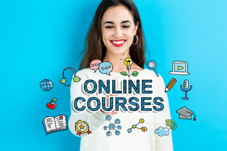 Online Courses  text with young woman on a blue background Stock fotó