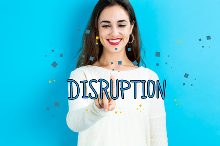 disruptive: Disruption text with young woman on a blue background