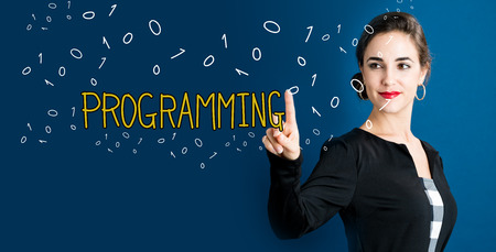 Programming text with business woman on a dark blue background