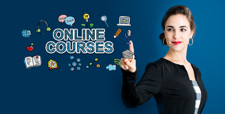 Online Courses text with business woman on a dark blue background