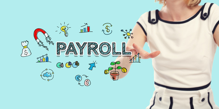 Payroll text with young woman on a blue background