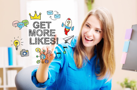 Get More Likes concept with young woman in her home office