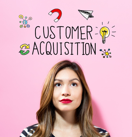 Customer Acquisition text with young woman on a pink background