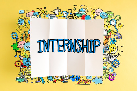 Internship text with colorful illustrations on a yellow background