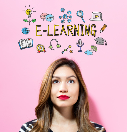 E-Learning text with young woman