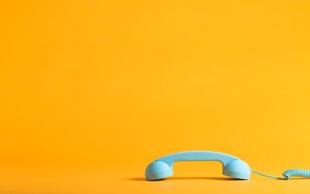 Combiné téléphonique bleu de style rétro Banque d'images - 83477180