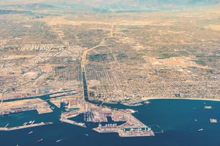 Aerial view of San Pedro, Terminal Island and Long Beach, CA
