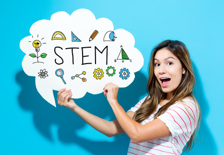 STEM text with young woman holding a speech bubble on a blue background