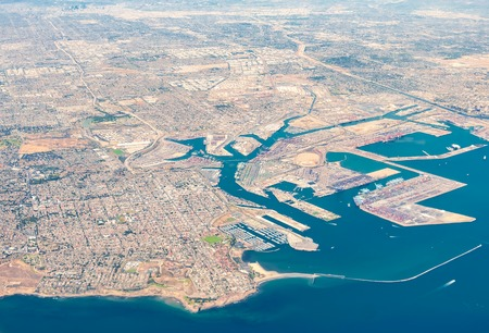 Aerial view of San Pedro, Terminal Island and Long Beach, California
