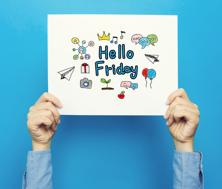 Hello Friday text on a white poster on a blue background Banco de Imagens