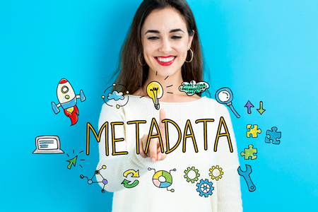metadata: Metadata text with young woman on a blue background Stock Photo